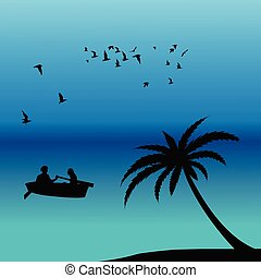 Romantic landscape with couple in a boat on ocean