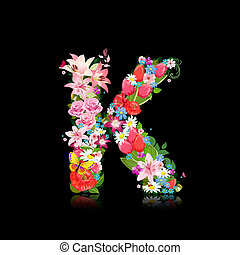 Romantic letter of beautiful flowers K