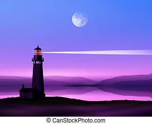 romantic lighthouse near Atlantic seaboard shining at night in the bright of the moon