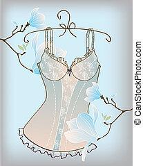 Romantic lingerie with magnolia