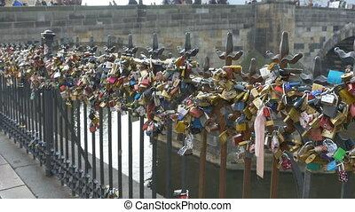 Romantic Locks on Fence - Romantic promissed love locks on...