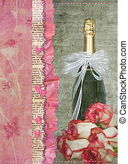 Romantic Love - Champagne bottle with bow and rose bouquet.