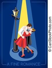 Romantic Love Concept Isometric