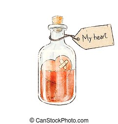 Romantic love potion in a heart shaped glass flask retro postcard for Valentine s Day. My heart lettering. Vector illustration
