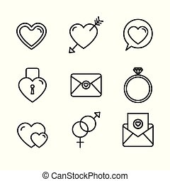 romantic love set icons