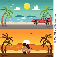 Romantic lover watching sunset and sport car in the beach