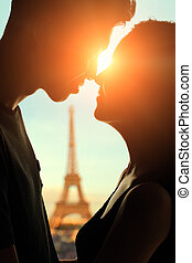 Romantic lovers with eiffel tower