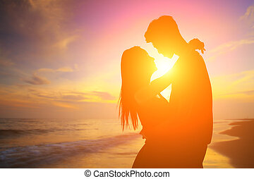 Romantic lovers with sea