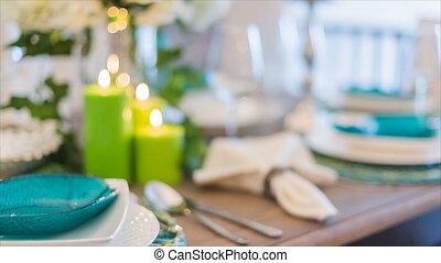 Romantic lunch table set