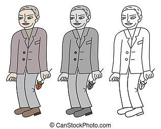 Romantic man with flower - Illustration of a romantic man...