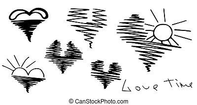romantic., mignon, oiseaux, rayons, amour, romantique, valentine, set., voler, isolé, surface, eau, time., monture, levée, white., cœurs, sun., lettering., jour