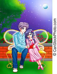 Romantic Moment - Cartoon illustration of a couple cuddling ...