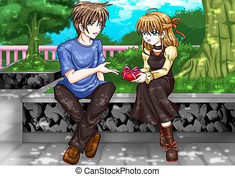 Romantic Moment - Cartoon illustration of a man giving a ...