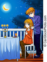 Romantic Moment - Cartoon illustration of a man giving a...