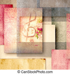 romantic musical background, vintage style, treble clef on...