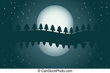 Romantic night landscape, reflection of moon in water, starry night, vector illustration