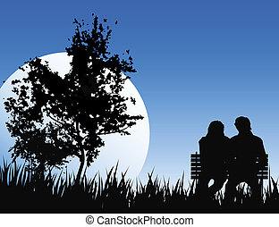 romantic night - love concept on nature backround with big ...
