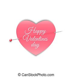 Romantic note in the form of a heart with a pin. Happy Valentine's Day. Isolated on white background.Note for a loved one. Vector.