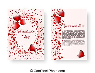 Romantic notebook with red hearts - Template of wedding...