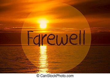 Romantic Ocean Sunset, Sunrise, English Text Farewell - ...