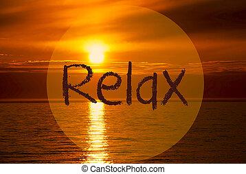 Romantic Ocean Sunset, Sunrise, English Text Relax - English...