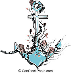 Romantic Old Anchor with Roses Black Ink