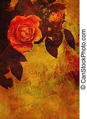 Romantic orange roses background