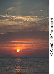 romantic orange sunset by the sea