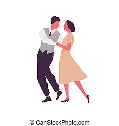 Romantic pair holding hands and dancing lindy hop. Man and ...