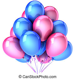 Romantic party balloons blue pink