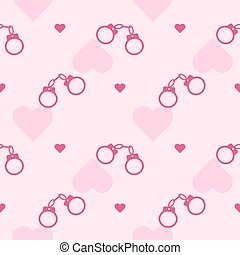romantic pattern with a pink handcuffs