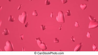 Romantic pattern with doodle pink hearts. For St. Valentines Day. wedding invitation e-card. 3D rendering loopable animation 4k.