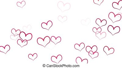 Romantic pattern with doodle red hearts. For St. Valentines Day. wedding invitation e-card. 3D rendering loopable animation 4k.