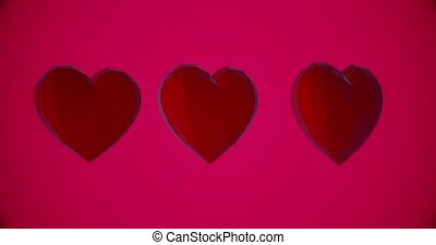 Romantic pattern with polygonal red hearts. For Valentine's Day event. Loop animation 4k. 3D rendering loopable animation 4k