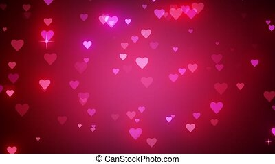 Romantic pink background with shiny hearts. Symbol of love. Valentine's card. 3D animation