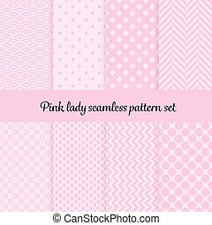Romantic pink theme with hearts and other shapes. Seamless vector pattern background set