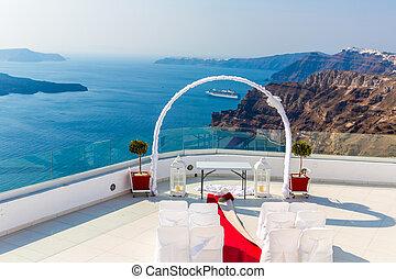 Romantic place for wedding ceremony in Santorini...