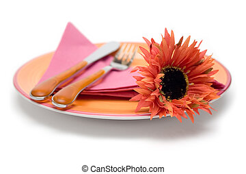 Romantic Place Setting - Place setting with a red flower on...