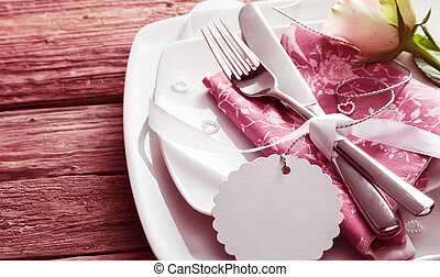 Romantic Place Setting with Rose and Blank Tag