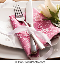Romantic Place Setting with White Rose