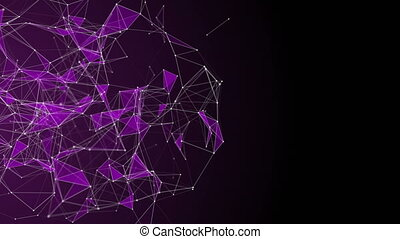 Romantic plexus animation with glowing triangles in slow ...