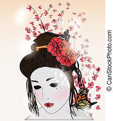 romantic portrait of a geisha with cherry blossom branch