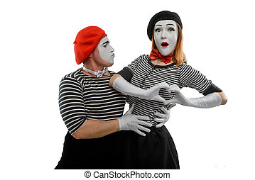 Romantic portrait of two mimes. Male and female mime artists