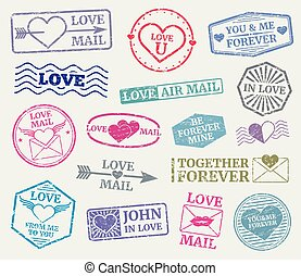 Romantic postage stamp vector set for valentines day card, love letters