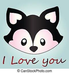 Romantic postcard with raccoon, close-up