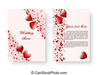 Romantic poster with red hearts