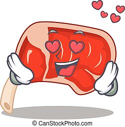 Romantic prime rib cartoon character has a falling in love ...