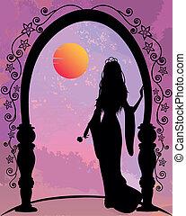 romantic princess - princess under archway looking at the...