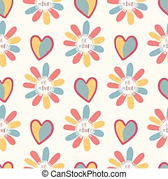 Romantic rainbow I love you daisy flower. Hand drawn seamless vector pattern