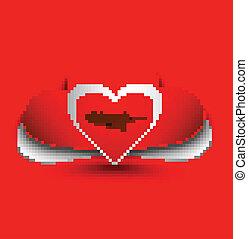 Romantic red heart valentine`s day vector design